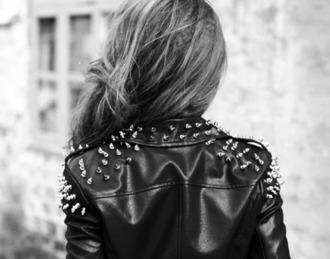 jacket black leather jacket rivets