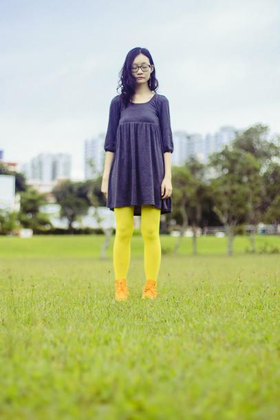 pupuren blogger neon grey dress tights dress shoes