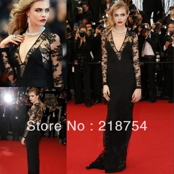 Aliexpress.com : Buy New Arrival V neck Long Sleeves Mermaid Floor Length Black Lace Appliques Zipper Back Celebrity Dresses Prom Gowns 2013 Discount from Reliable gown dress up suppliers on Lhasa Roland_love