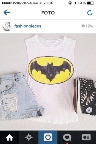 shirt batman tank top shorts shoes white