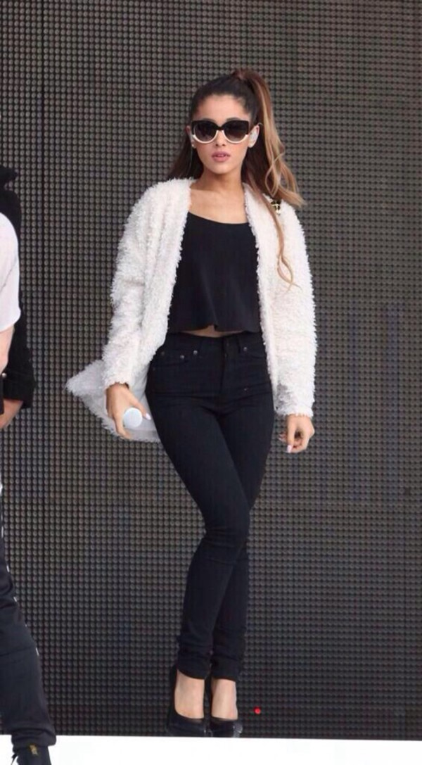 sunglasses black white jacket ariana grande fashion high waisted jeans jeans top gold shoes tank top