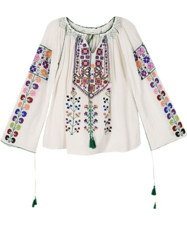 Blue Embroidered Ivory Blouse