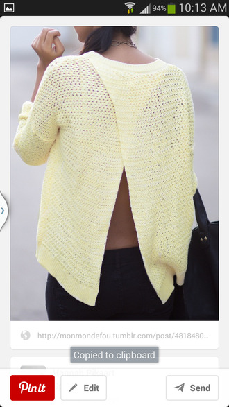 sweater yellow split back cross back surprise surprise