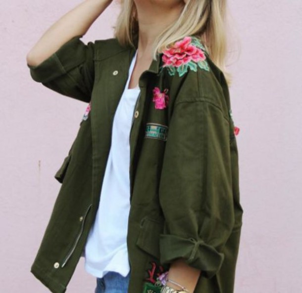 Image result for flowers on utility jacket