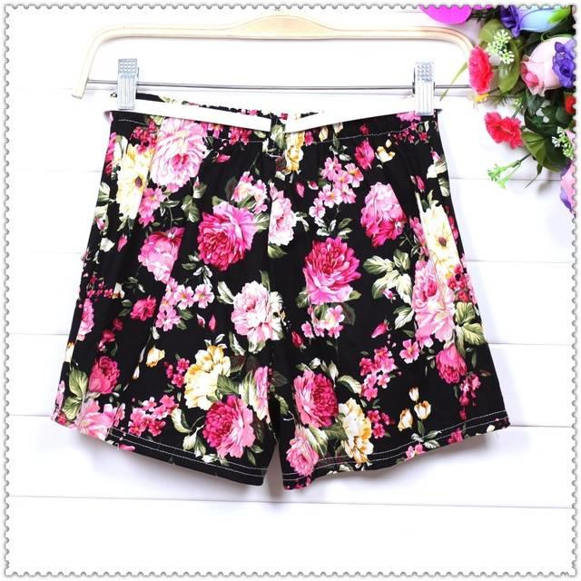 Free Shipping 2013 New Women Flower Floral Print Elastic Waist Shorts Mini Short Pants Gift Belt-in Shorts from Apparel & Accessories on Aliexpress.com