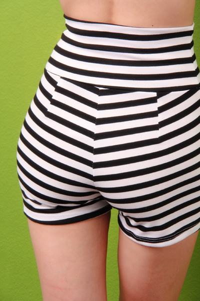 BLACK WHITE STRIPE PRINT HIGH WAIST SHORTS / Sexy Clubwear | Party Dresses | Sexy Shoes | Womens Shoes and Clothing | AMI CLubwear