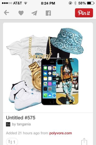 shirt elevens light blue white dress legend of hip hop blues and whites jordans bucket hat bandana print hat jewels leggings phone cover shoes t-shirt tank top top printed bucket hat