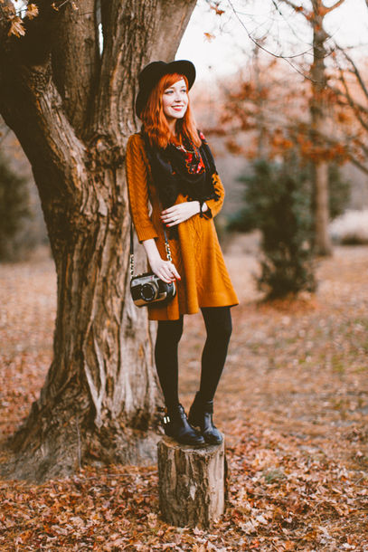 the clothes blogger hat scarf bag long sleeve dress winter dress rust