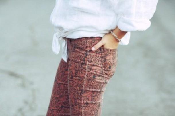 jeans skinny/red print
