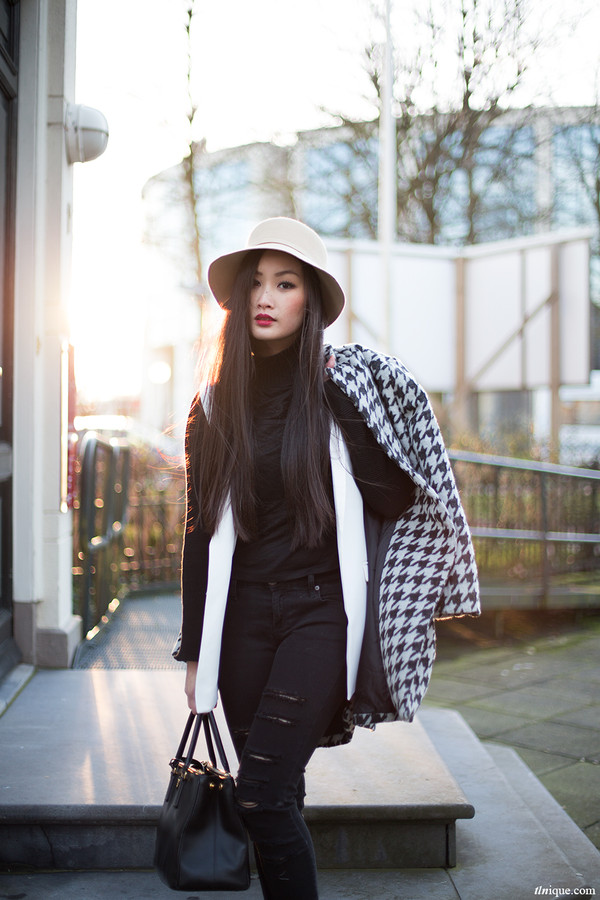 tlnique coat jeans hat coat long white