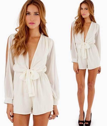 Classic White Chiffon Tie Waist Romper Long Slit Sleeves Elastic Waist Chic   eBay