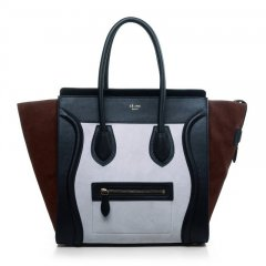 Celine Three Tone Mini Boston Tote Bag White & Brown Chammy Leather with Black Smooth Leather 2012/2013 fall winter Online For Sale [BAG-07182] - $308.00