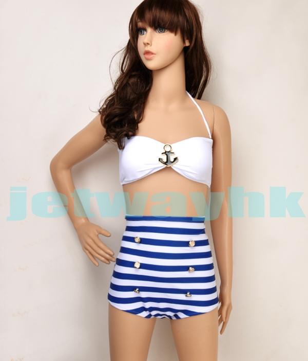 Vintage Retro Bandeau Anchor Nautical Strip High Waisted Button Bikini White Ml | eBay
