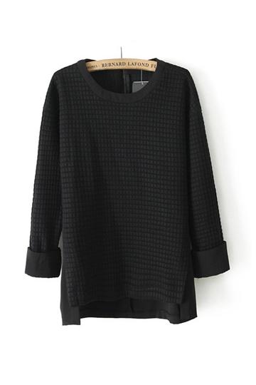 High Low Flank Splits Cotton Shirt [FDBI00419]- US$25.99 - PersunMall.com
