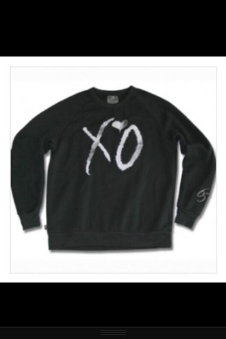 sweater xo the weeknd rnb black fashion blogger cute funny love peace happy smile style drake hip hop clothes like brands hipster indie america england music stylish