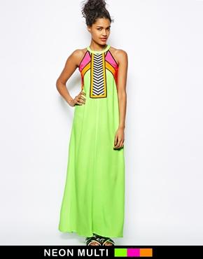 River Island | River Island Neon Color Block Maxi Dress at ASOS