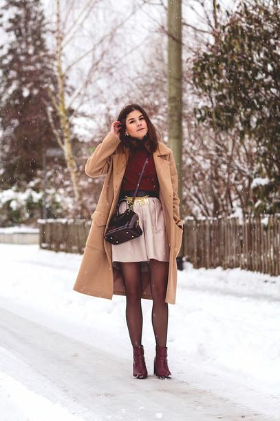 the fashion fraction blogger skirt camel coat winter outfits burgundy sweater belt