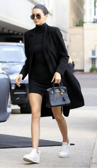 dress bodycon dress black dress kendall jenner coat sneakers fall outfits