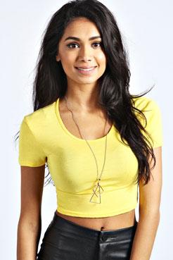 Nicole Short Sleeve Crop Top at boohoo.com