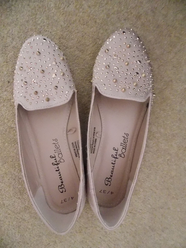 Light pink slipper style ballet pumps with rose gold spikes and studs, size 4 | eBay