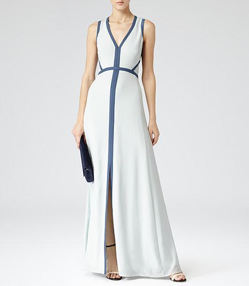 Victoria Maxi Ice Blue Open Back Maxi Dress - REISS