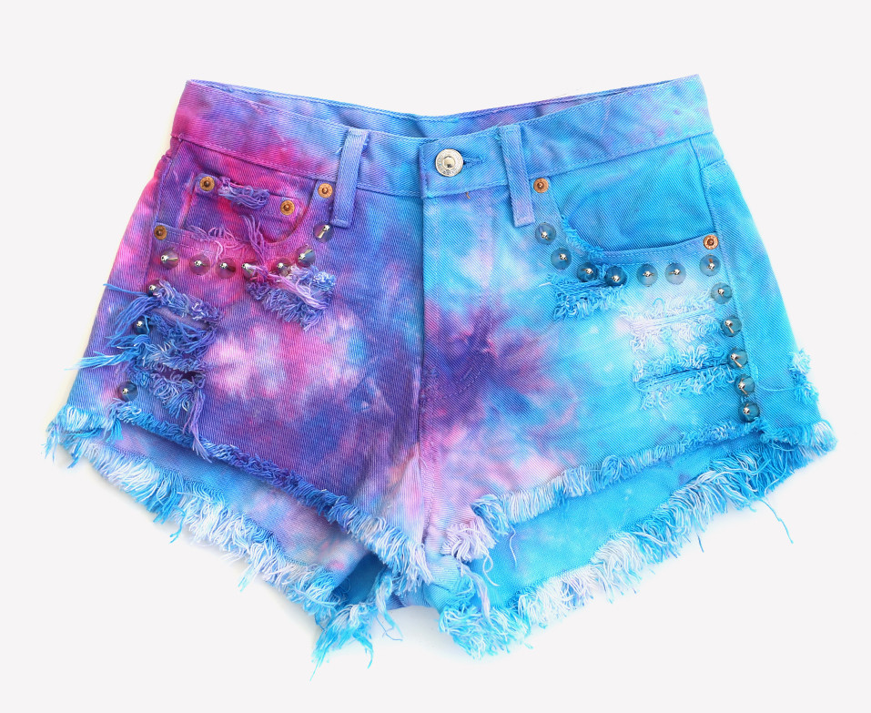 Hand Dyed Magic Studded Shorts - One of A Kind | RUNWAYDREAMZ