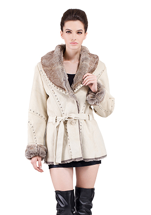 Faux beige suede with gray rabbit fur women short suede coat