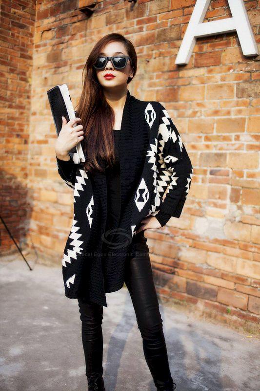 Black Aztec Sweater Cardigan - The Happy Wardrobe