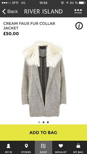 coat cream faux fur colar river islandd