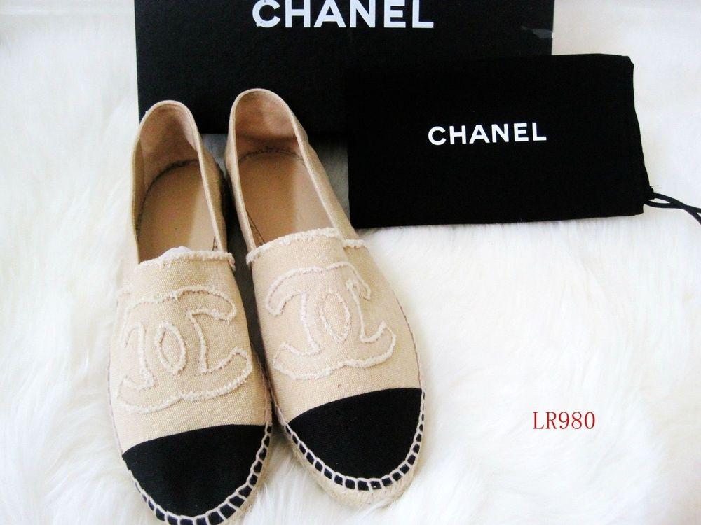 Chanel Canvas Espadrilles Flats Logo Shoes Beige Black Sz 35 36 38 39 40 41   eBay