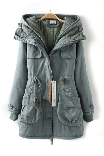 Hooded Thin Parka Coat with Drawstring [FEBK0519]- US$ 115.99 - PersunMall.com