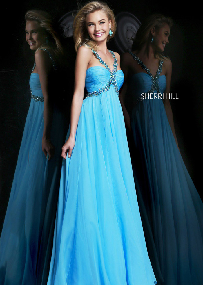 Cheap 2014 Sherri Hill 11072 Turquoise Beaded Prom Gown [Sherri Hill 11072 a] - $202.50 : 2014 New Evening/Prom Dress Cheap on PromNew.com.
