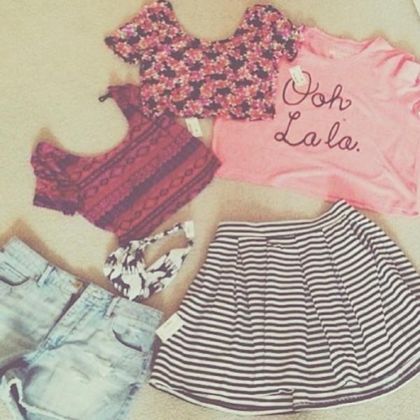 t-shirt pink aztec crop top shorts pink t-shirt floral crop top striped skirt