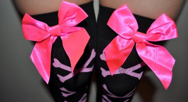 underwear black pink bow bones emo scene cute inlove knee high socks
