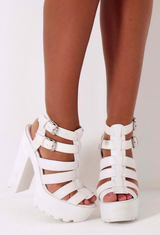 Lyssa White Chunky Platform Sole Sandals   Pink Boutique