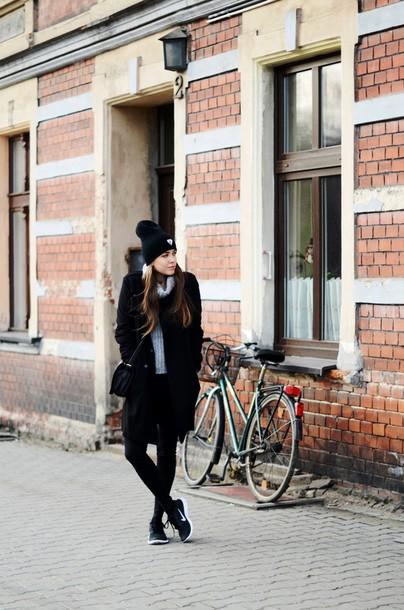 jestem kasia blogger coat jeans sweater bag shoes hat