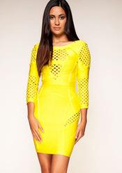 Online Shop Bandage Dress L061  Gridding Yellow Bandage Long Sleeve Tight fitting  Evening Dress|Aliexpress Mobile
