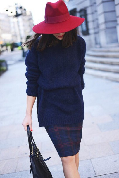 hat skirt blue shirt red lookbook paris