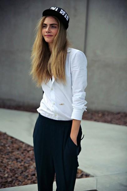 shirt cara delevingne pants blouse
