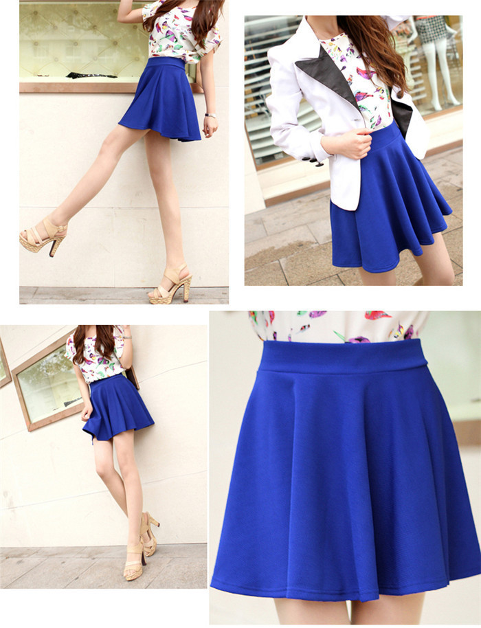 Brithday Party Evening Dress 2014 Women Candy Color Pleated Skirt Stretch Waist Plain Skater Flared Pleated Ruffle Mini Skirt -in Apparel & Accessories on Aliexpress.com