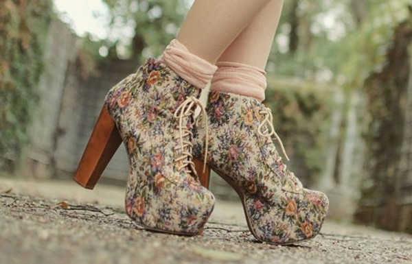 shoes floral high heels thick heel