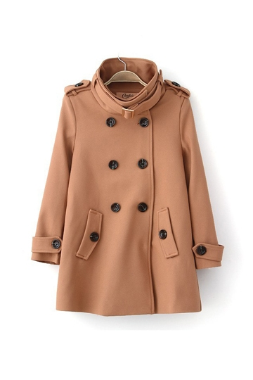 British Style Epaulet and Collar Buckle Pea Coat [FEBK0384]- US$64.99 - PersunMall.com