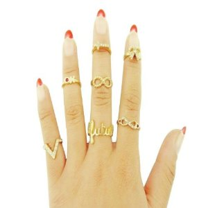Amazon.com : 2014 Susenstore 5pcs/set Rings Urban Gold Stack Plain Cute Above Knuckle Ring Band Midi Ring : Sports & Outdoors