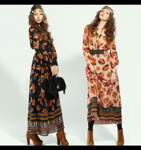 dress boho dress bohemian dress bohemian boho patterned dress tribal pattern tribal print dress floral dress cute dress headband shoes hair band necklace flowy dress