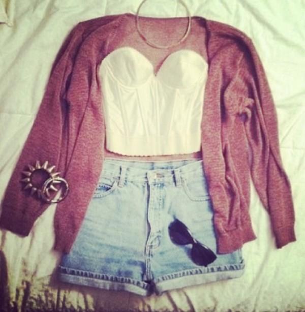 sunglasses cute! shoes shirt shorts jacket jewels