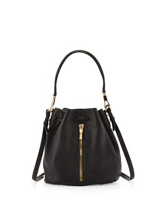 Elizabeth and James Cynnie Mini Bucket Lambskin Bag, Black