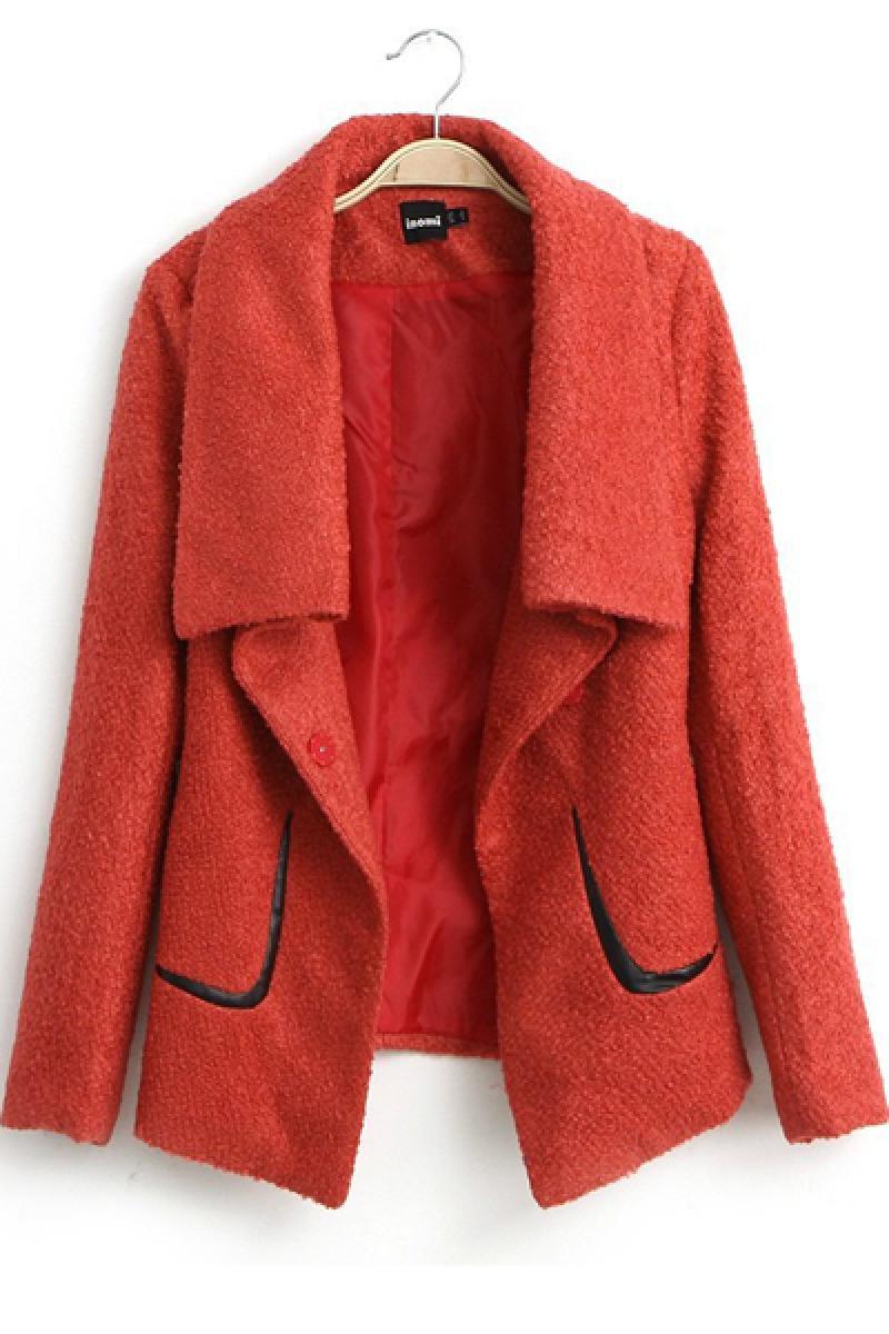 New Euroamerican Lapel All-match Woolen Overcoat,Cheap in Wendybox.com