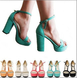 FREE SHIPPING Star candy color button belt thick heel shoes platform high heels  peep toe open toe sandals wome's heel shoes-inSandals from Shoes on Aliexpress.com
