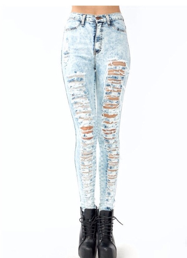 jeans blue ripped ripped jeans blue jeans skinny jeans high waisted skinny jeans light blue ripped light jeans