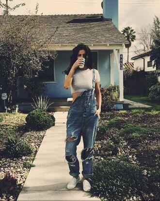 jeans overalls selena gomez instagram denim crop tops top